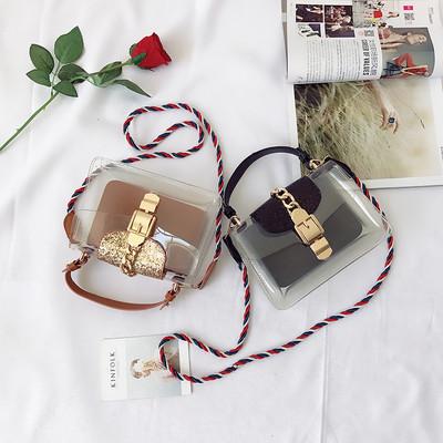 Модерна дамска чанта с прозрачно дъно и с две дръжки в черен, бежов и кафяв цвят