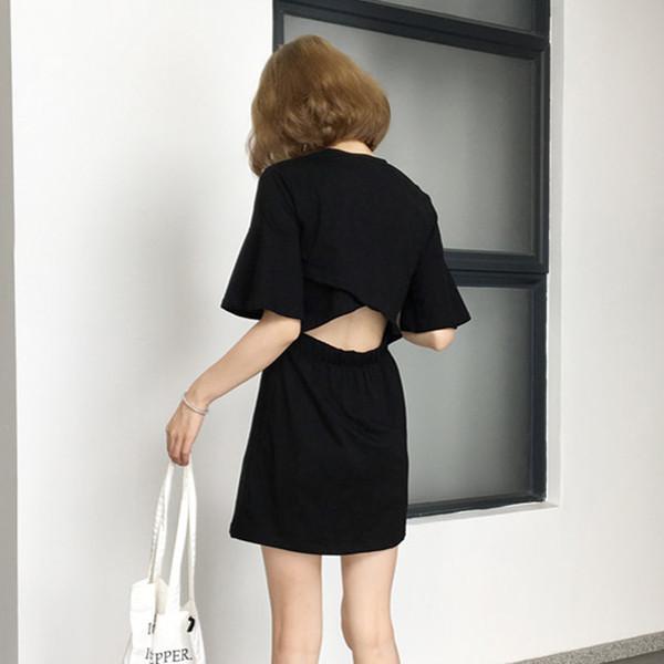 0bcd4cb6ae52 Η σύγχρονη καθημερινή κυρίες κοντό φόρεμα με γυμνά σταυρό σε λευκό και γκρι  - Badu.gr Ο κόσμος στα χέρια σου