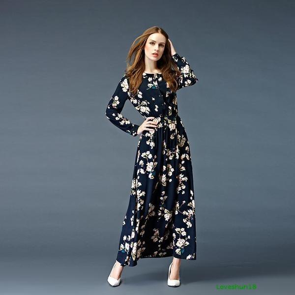 20e8e4c63f3 Дълга есенна рокля с дълъг ръкав във флорален мотив - Badu.bg - Светът в ръцете  ти