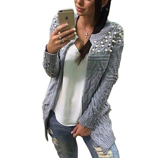 1c9e0388d91 Много актуална дамска вълнена жилетка с интересни перли - 8 цвята - Badu.bg  - Светът в ръцете ти