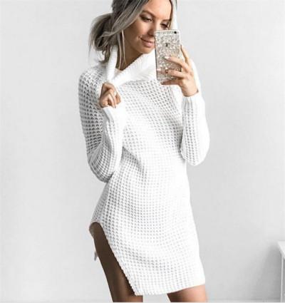 9112d3b77b2 Елегантен и много топъл дамски дълъг пуловер с полувисока яка - Badu.bg -  Светът в ръцете ти