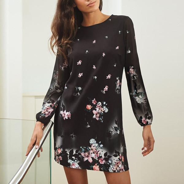 0dcca6d0f2b Есенна дамска рокля с дълъг ръкав и флорални мотиви - Badu.bg - Светът в ръцете  ти