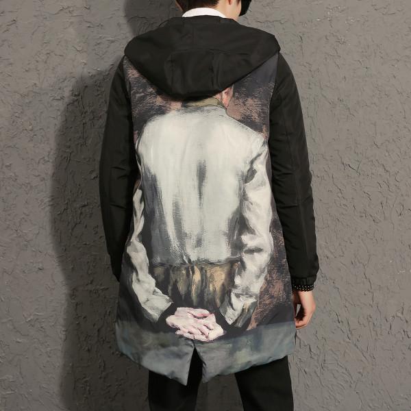 7575c0346c8 Αντρικά χειμωνιάτικα μπουφάν με κουκούλα, τύπος πάρκου + έγχρωμη εκτύπωση  στο πίσω μέρος - Badu.gr Ο κόσμος στα χέρια σου