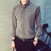 Страхотна карирана мъжка спортно-елегантна сива риза