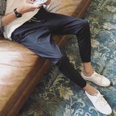Стилни ежедневни мъжки панталони стил шалвари в сив и черен цвят