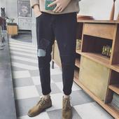 Нов модел шалварести мъжки дънкови черни панталони