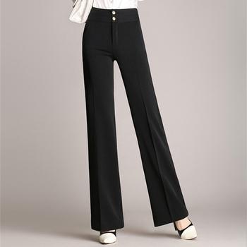 Много стилен дамски панталон с висока талия и широк крачол
