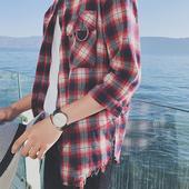 Стилна раирана мъжка риза 3/4 ръкав в червен и син цвят