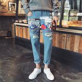 Изключително модерни мъжки дънки с апликации и 7/8 крачол