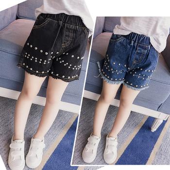 Уникални къси дънкови панталони в два цвята с много красиви перли