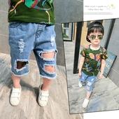 Страхотни момчешки къси дънкови панталони с дупки