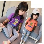Интересен модел блуза за момичета с пришит дълъг ръкав в два цвята