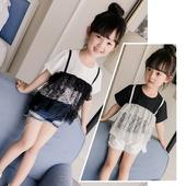 Много интересна тениска за момичета с пришита дантела отпред в бяло и черно