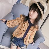 Екстравагантна шифонена блуза с къдри за момичета
