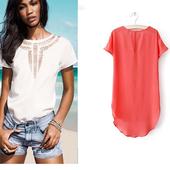 Много нежна дамска ежедневна дълга риза в пет различни цвята