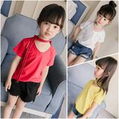 Небрежна лятна тениска с къс ръкав за момичета в 3 цвята