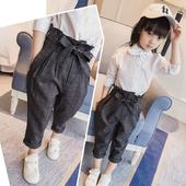 Актуални небрежни панталони за момичета с колан-панделка