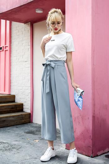 8299c6ffb8c Дамски ежедневен панталон с висока талия и много красива панделка ...