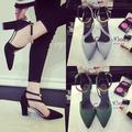 Спортно-елегантни дамски обувки на дебел висок ток с красива закопчалка