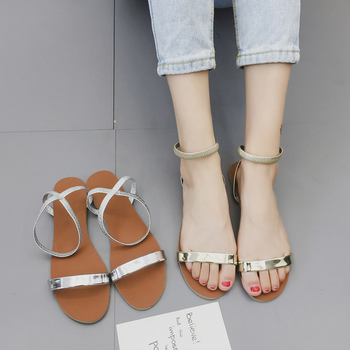 Ежедневни дамски сандали в сребърен и златен цвят с тънка каишка