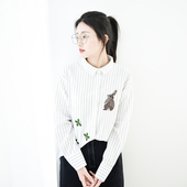 Спортно-елегантна дамска раирана риза със зайчета в два цвята