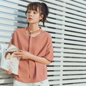 Екстравагантна дамска шифонена риза в два цвята с къс ръкав