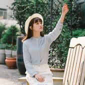 Спортно-елегантна момичешка раирана риза с попска яка