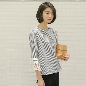 c947d3c12d10 κομψό Γυναικεία μπλούζα με φαρδιά μανίκια 3 4 με δαντέλα - Badu.gr Ο ...