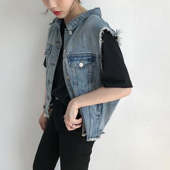 Много стилно дамско дънково яке без ръкави