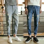 Страхотни мъжки дънкови панталони с крачол тип 7/8 и раздрани мотиви