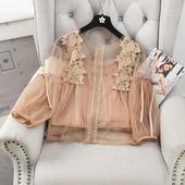 Лятна дамска риза с прозрачни части и декорация в бял, черен и бежов цвят