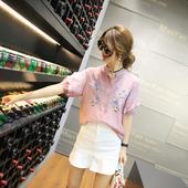 Дамска риза с широки 3/4 ръкави и флорални мотиви, в бял и розов цвят