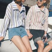 Екстравагантна дамска широка риза на райета в два различни цвята