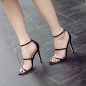 Официални дамски обувки на висок ток с каишки в черен и бежов цвят