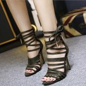Дамски сандали на висок ток с връзки в черен, бежов и зелен цвят