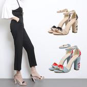 Дамски стилни обувки на висок ток с бродерия, в син и бежов цвят