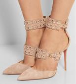 Дамски официални обувки на висок ток с каиши и декорации