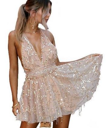 bd3c7ecd8414 Φρέσκα κυρίες φόρεμα με παγιέτες σε μαύρο και μπεζ - Badu.gr Ο ...
