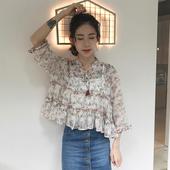 Свободна прозираща дамска риза с флорални мотиви