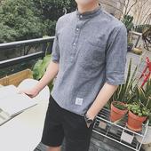 Мъжка ежедневна риза на райета с попска яка и джоб
