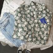 Цветна мъжка риза с флорални мотиви и къс ръкав