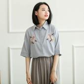 Дамска риза с широк 3/4 ръкав, бродирани цветя и райета