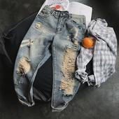 Мъжки модерни дънки - накъсани в светъл цвят