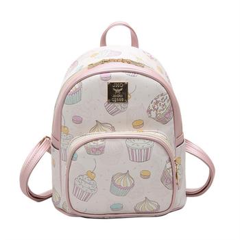 Модерна дамска чанта с картинки в бял и розов цвят