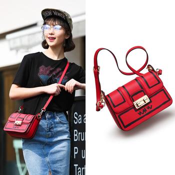 Мини дамска кожена чанта в черен и червен цвят