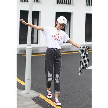 1662c321fff Модерни дамски дънки тип Boyfriend в сив цвят и накъсани с висока талия