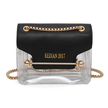 Модерна мини чанта с метална дръжка и прозрачно дъно, в бял, черен и розов цвят