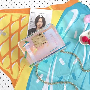 Мини прозрачна стилна дамска чанта с метална дръжка
