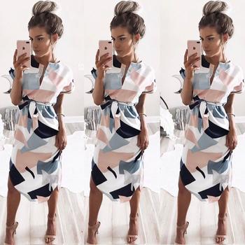 Модерна цветна дамска рокля с дължина до коленете