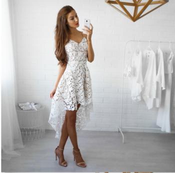 2401220cd7f4 Κομψό κυρίες δαντέλα φόρεμα με V-λαιμό